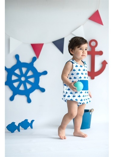 Nila Kids Shark Organik Erkek Bebek Kısa Tulum Beyaz